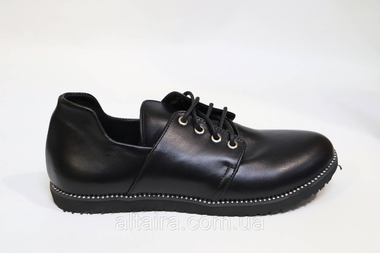 """Женские туфли, черные, стиль """"оксфорд"""", из натуральной кожи. Жіночі туфлі шкіряні, чорні."""