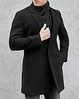 Мужское классическое черное пальто однобортное