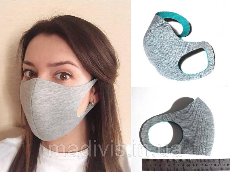"""Многоразовая защитная маска для лица """"Питта"""" 3 шт.  серая, (неопрен, двухсторонняя)"""