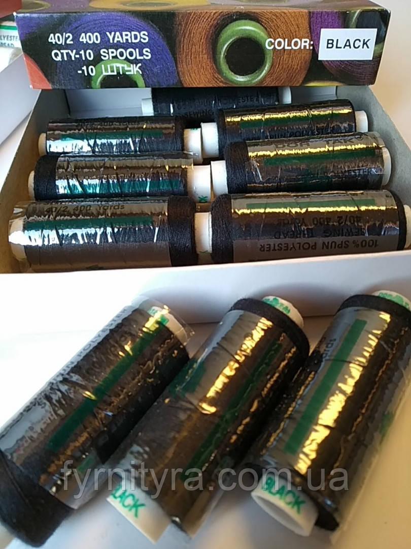 ПОЛИЭСТЕРОВЫЕ НИТКИ чёрные DorTak 400yd 200 упаковка