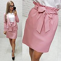 Стильная юбка с завышенной талией и поясом резинкой, арт 174, цвет пудра / розового цвета