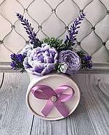 Букет пионов из мыла фиолетовый