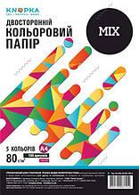 Папір кольоровий Knopka, Mix, A4, 80 г/м², 100 аркушів, 5 кольорів (1/24)