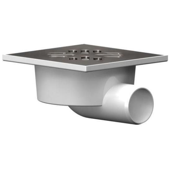 Душевой трап горизонтальный D50, 100*100мм решетка нерж. сталь, гидрозатвор