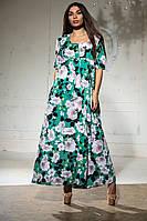 Летнее платье с кокеткой в пол из воздушной ткани софт  р.44-46,48-50,52-54 код 1007В