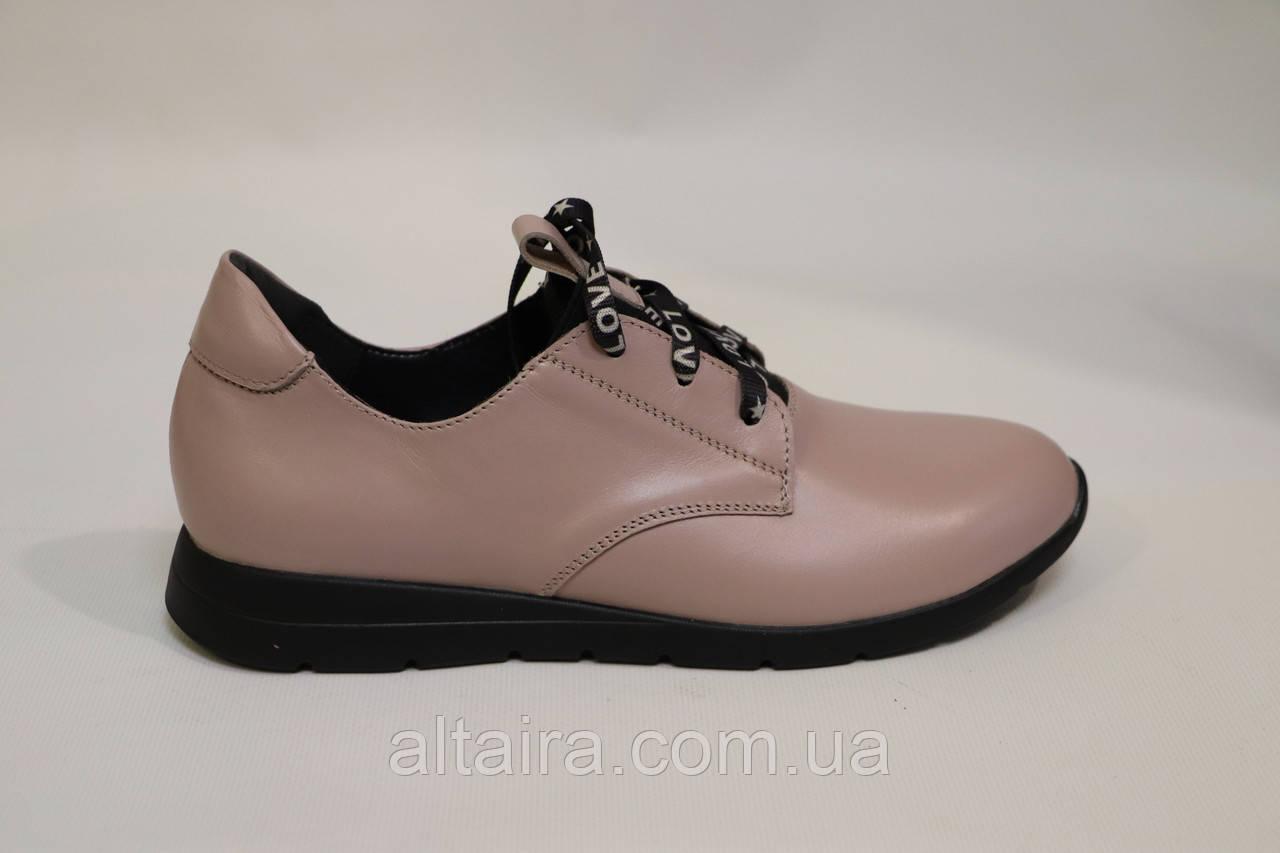 Туфли женские, на шнурке, из натуральной кожи. Жіночі туфлі шкіряні, світлі.