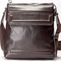 Мужская сумка на плече кожаная коричневого  цвета