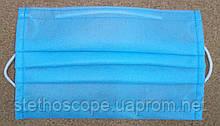 Маска защитная медицинская для лица  (синяя, трехслойная)