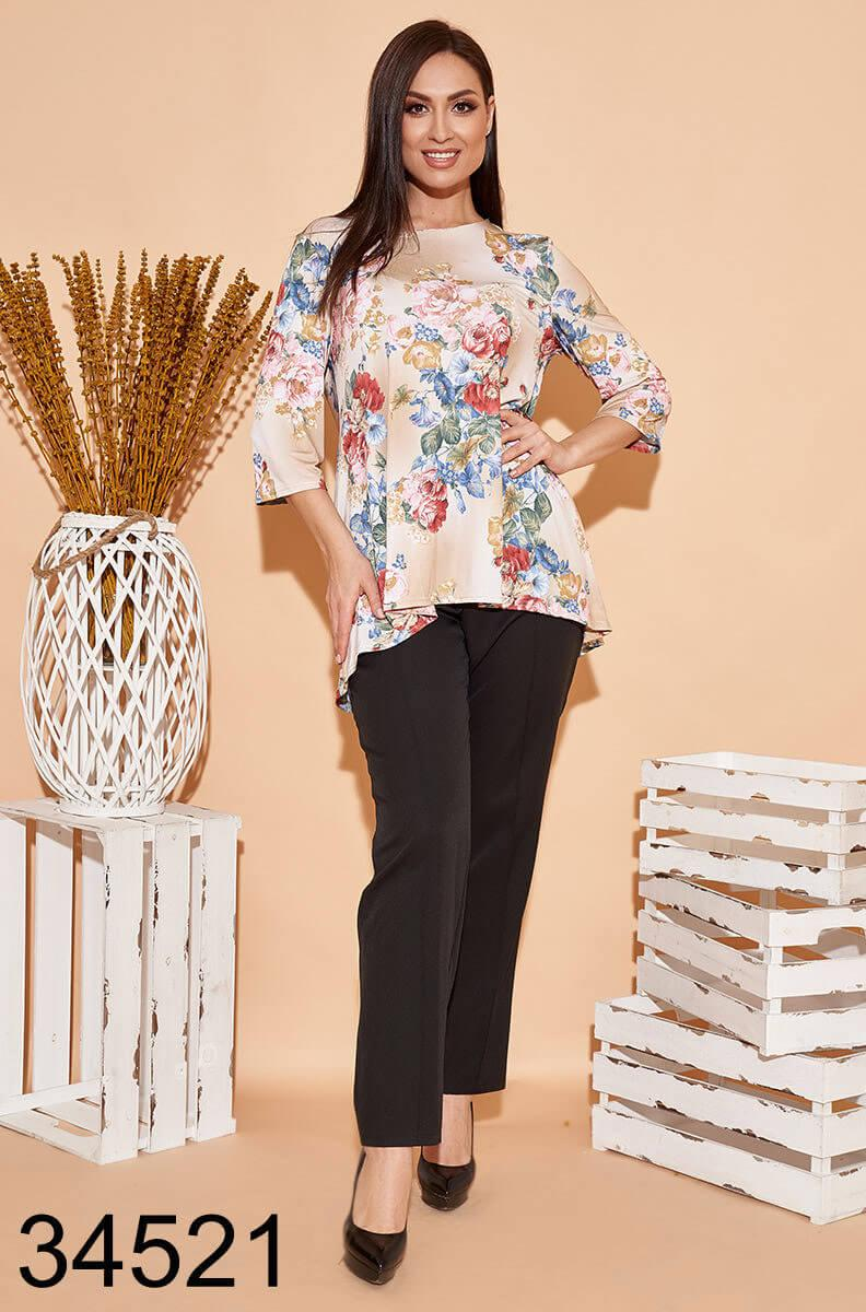 Стильный костюм брюки + блузка с цветочным принтом р. 50, 52, 54, 56