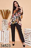 Стильный костюм брюки + блузка с цветочным принтом р. 50, 52, 54, 56, фото 2