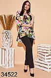 Стильный костюм брюки + блузка с цветочным принтом р. 50, 52, 54, 56, фото 4