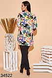 Стильный костюм брюки + блузка с цветочным принтом р. 50, 52, 54, 56, фото 3