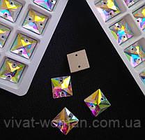 Стрази пришивні аналог Сваровскі, Квадрат 10 мм Crystal АВ, скло