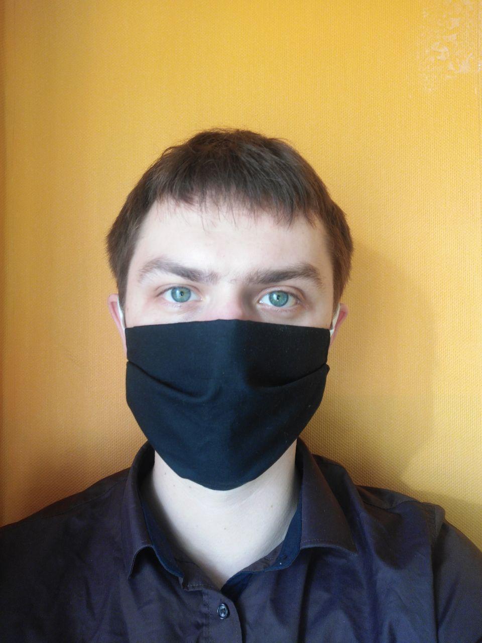 Защитная маска бязевая, многоразовая 4-х слойная (черная)