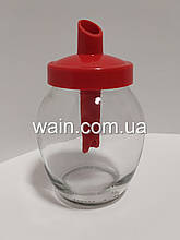 Сахарница стеклянная 350 мл круглая с красным пластиковым дозатором Everglass