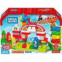 Детский Игровой Музыкальный Конструктор Музыкальная Ферма с фигурками животных и большими деталями Mega Bloks