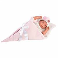 Детская Игровая Развивающая Испанская Кукла Llorens плачущая малышка в розовом одеяле 35 см из винила