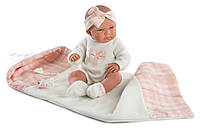 Детская Игровая Испанская Подвижная Кукла для девочек Ника в пеленках с соской 40 см Llorens из винила