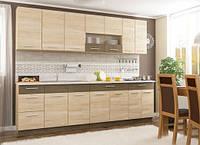 Модульная кухня Мебель-Сервис Грета бежевая без столешницы линейная 260 см