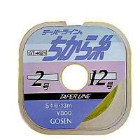 Шок лидер Gosen Taper Line GT-462N 15м*5шт 0.235-0.47мм (толщина № 2-8)