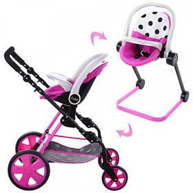 Коляска Для Куклы Трансформер iCoo, Розовый + стульчик для кормления + корзина (D-88842)