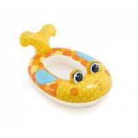 """Детский Надувной Плотик-Матрас Intex """"Рыба"""" Оранжевый (59380A)"""