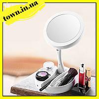 Круглое зеркало для макияжа с подсветкой Led mirror My Fold Away   Косметическое Светодиодное зеркало, фото 1