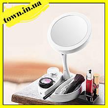 Круглое зеркало для макияжа с подсветкой Led mirror My Fold Away | Косметическое Светодиодное зеркало