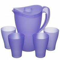 Глечик  з стаканами 5пр.пластиковий синій