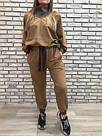 Спортивный костюм женский трикотаж RAW-INC кофе с молоком размер 46 48 50