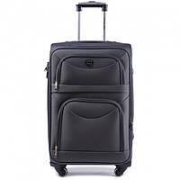 Дорожный чемодан тканевый Wings 6802 большой на 4 колесах серый