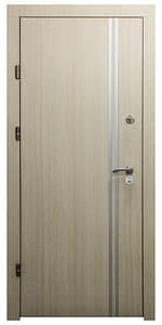 """Входные двери металлические, рис. """"БМ"""" №3, Цвет Яблоня светлая. Алюминиевая полоса 20 мм"""