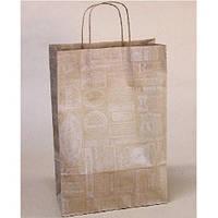 """(Цена за 12шт) Пакет подарочный крафт """"Белая газета на буром"""" размер 24*37*10см, с ручками, с принтом, Бумажные пакеты"""