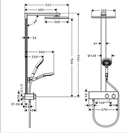 Душова система HANSGROHE Raindance E 300 1jet Showerpipe 350 ST, 27362000, фото 2