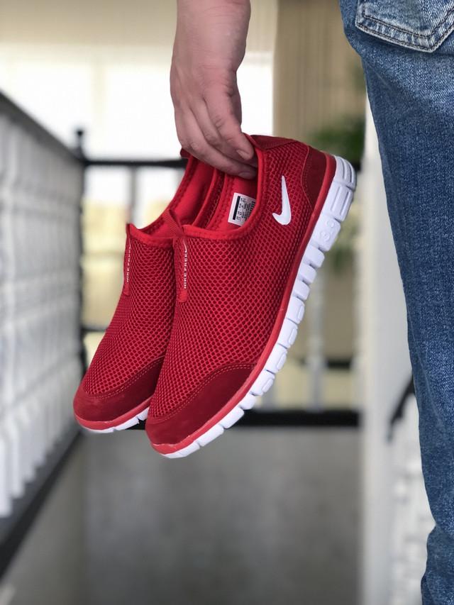 Кроссовки мужские в стиле Nike Free Run 3.0 сетка,  красные