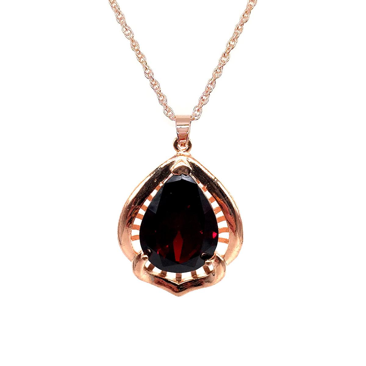 Підвіска на ланцюжку SONATA з медичного золота, темно-червоний фіаніт, позолота PO, 42075 (1)