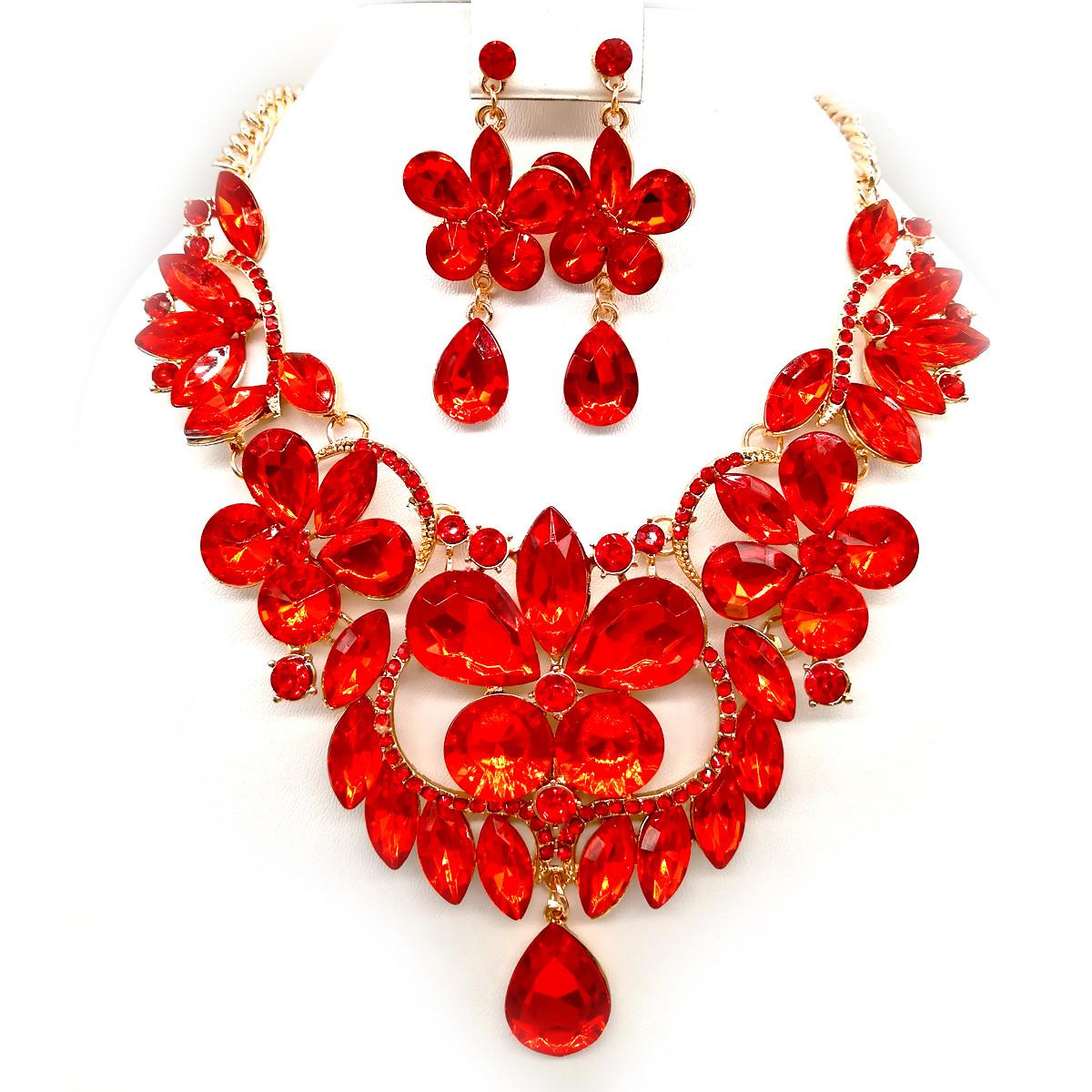 Комплект SONATA (Кольє + сережки), червоні камені, 63080 (1)