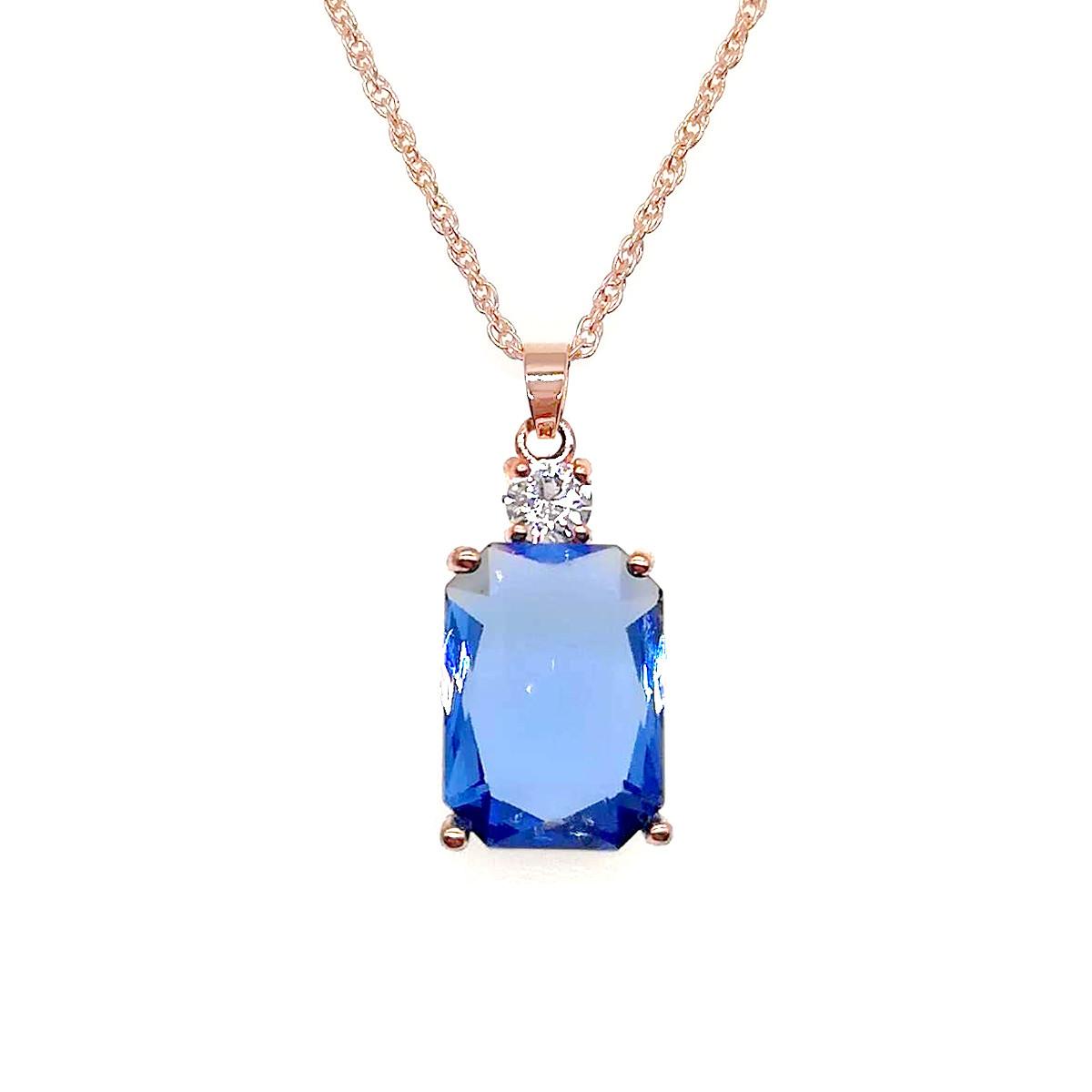 Подвеска на цепочке SONATA из медицинского золота, голубой фианит, позолота PO, 42077             (1)