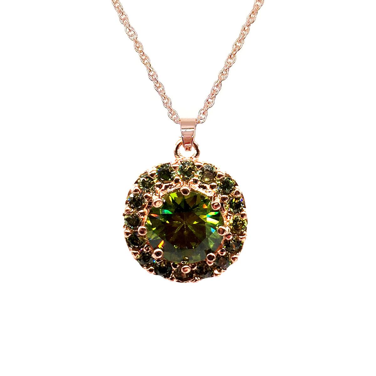 Подвеска на цепочке SONATA из медицинского золота, зеленый фианит, позолота PO, 42204             (1)