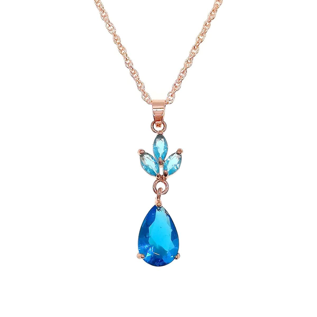 Подвеска на цепочке SONATA из медицинского золота, голубые фианиты, позолота PO, 42225             (1)