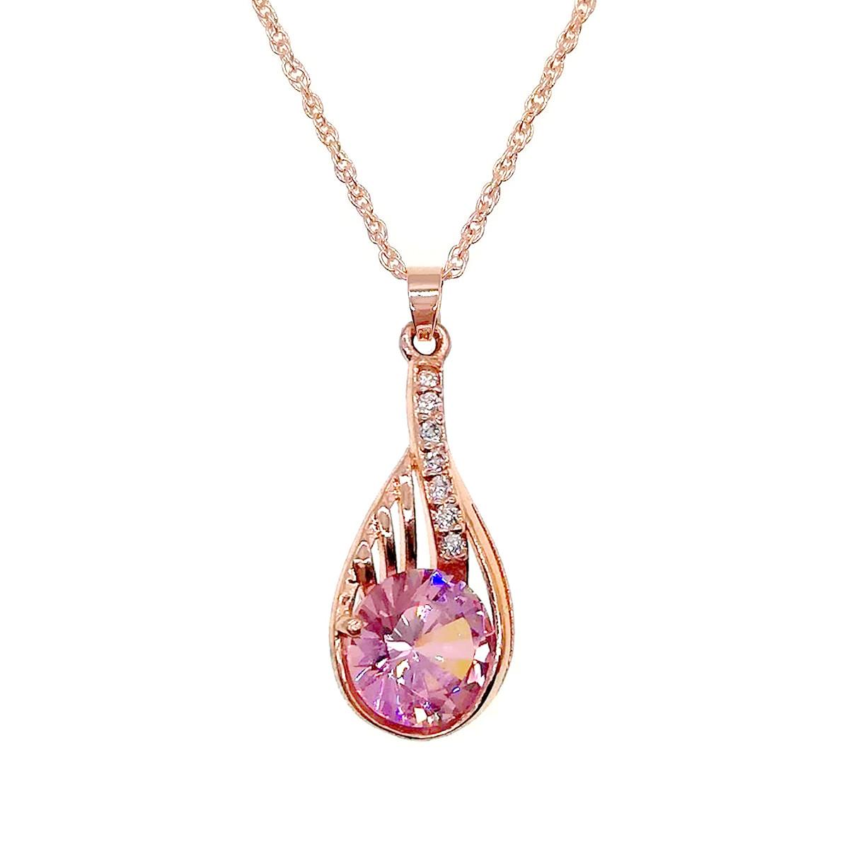 Подвеска на цепочке SONATA из медицинского золота, нежно-розовый фианит, позолота PO, 42232