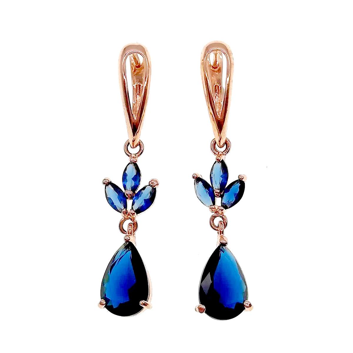 Серьги SONATA из медицинского золота, синие фианиты, позолота PO, 22948