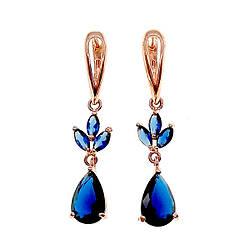 Сережки SONATA з медичного золота, сині фіаніти, позолота PO, 22948