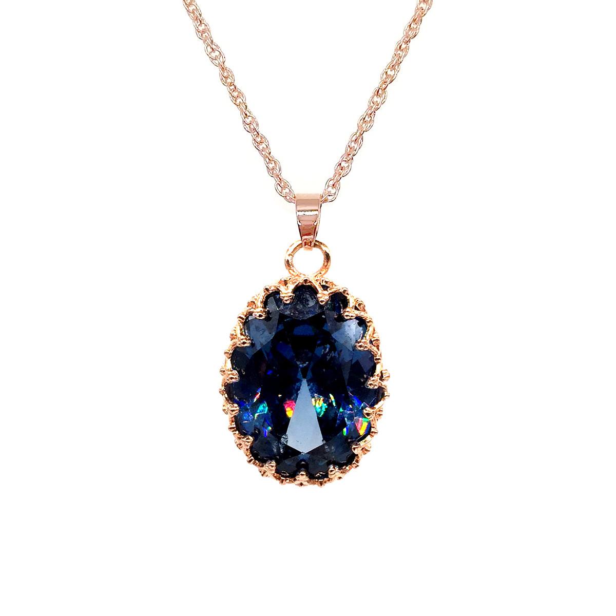 Підвіска на ланцюжку SONATA, з медичного золота, синій фіаніт, позолота PO, 42136 (1)