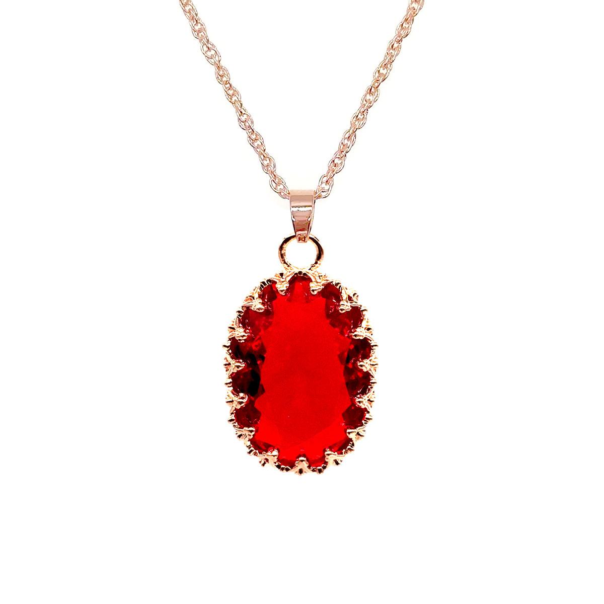 Подвеска на цепочке SONATA, из медицинского золота, красный фианит, позолота PO, 42135