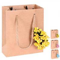 """Пакет подарочный бумажный """"Craft flower"""" 14х11х6.5см, с ручками, пакет для подарка, крафтовый пакет сувенирный"""