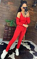 Спортивный костюм тройка красный кофта на молнии топ и штаны, фото 1