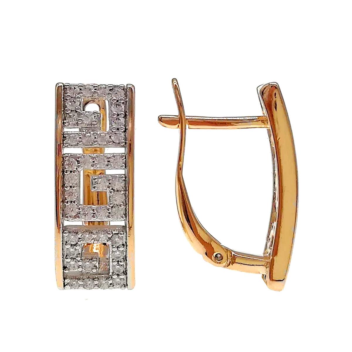 Серьги Xuping из медицинского золота, белые фианиты, позолота 18К + родий, 24417       (1)