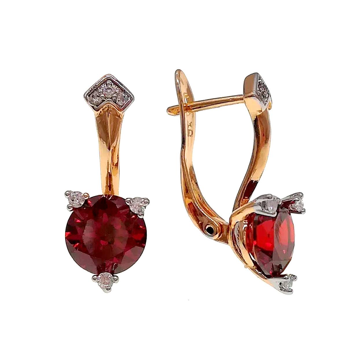 Серьги Xuping из медицинского золота,, гранатово-красные фианиты, позолота 18К + родий, 24422       (1)