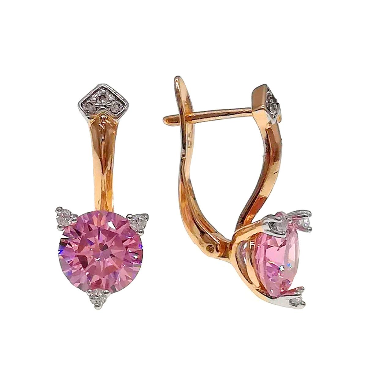 Серьги Xuping из медицинского золота, розовые фианиты, позолота 18К + родий, 24423       (1)